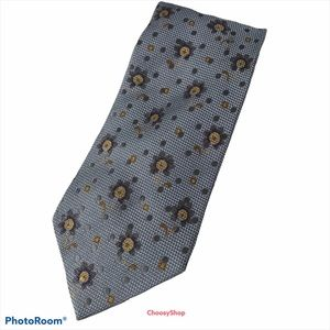 ZEGNA Slate Blue w/Gray Golden Yellow Flowers Tie